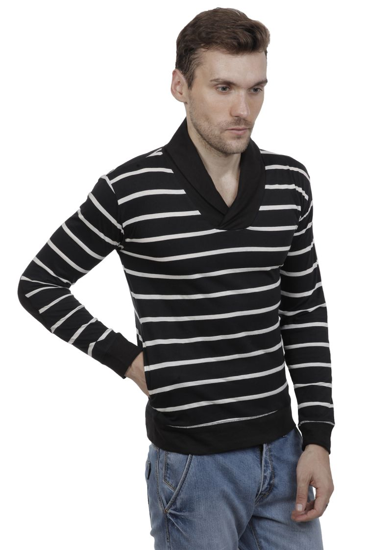Black t shirt guy - Buy Hypernation Black And White Color Striped Shawl Collar Cotton Mens T Shirt Online Best Prices In India Rediff Shopping