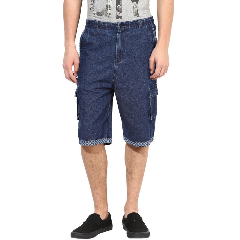 Buy Hypernation Blue 3/4th Cotton Shorts online