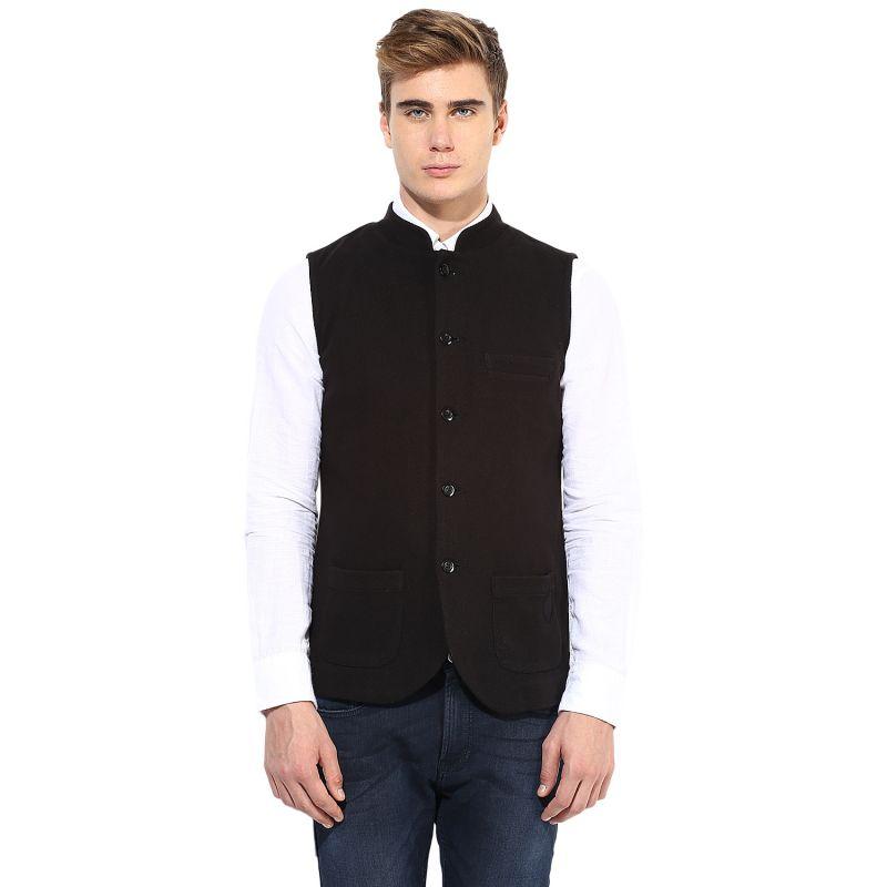 Buy Hypernation Black Cotton Waistcoat online