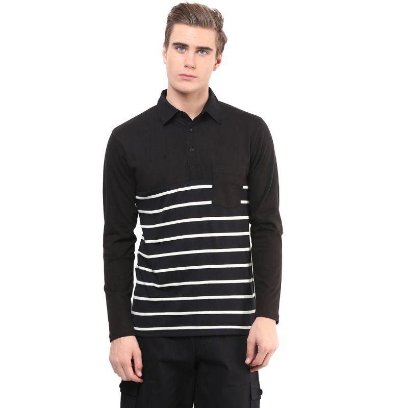 Buy Hypernation Black And White Stripe Poloneck Cotton T-shirt online