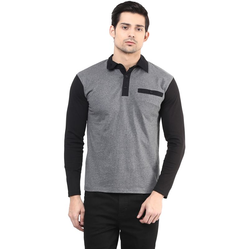 Buy Hypernation Dark Grey Body With Black Sleeve Polo Cotton T ...