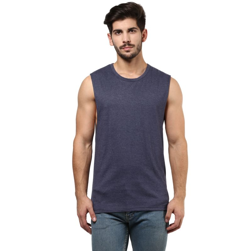 Buy Hypernation Grey Melange Round Neck Muscle T-shirt online