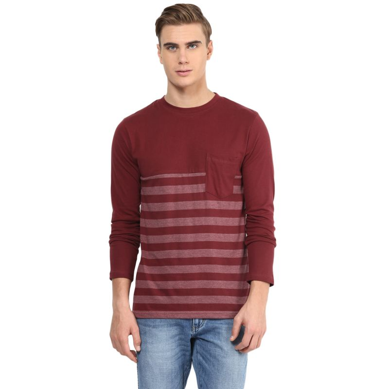 Buy Hypernation Maroon Round Neck Cotton T-shirt online