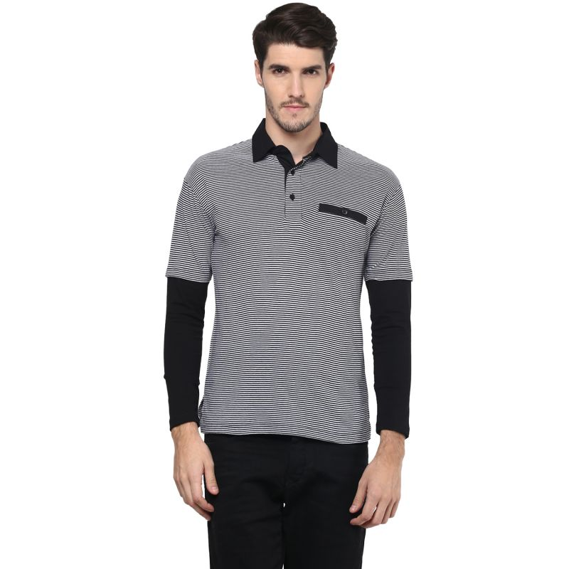 Buy Hypernation Striped Men Polo Neck T-shirt online