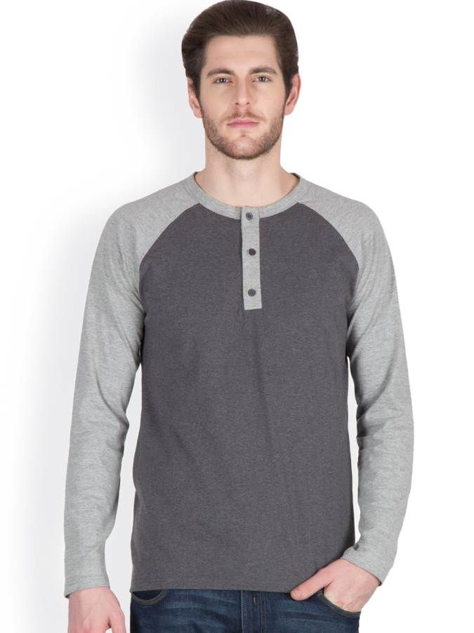 Buy Hypernation Dark Grey Color Full Sleeves Round Neck T-shirts online