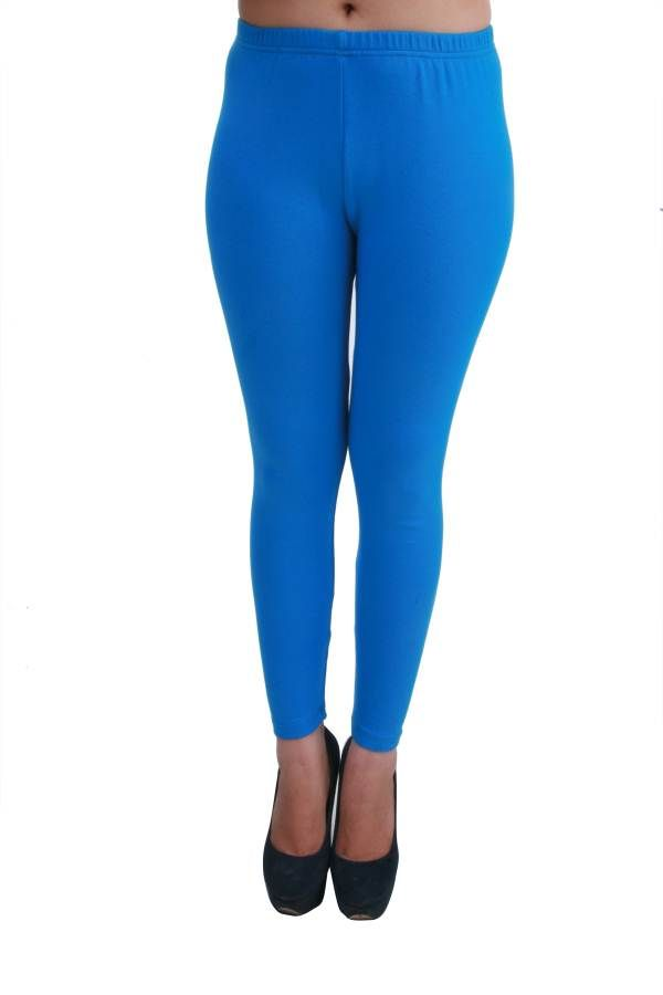 Buy Hypernation Light Blue Color Skinny Fit Leggings For Women ...