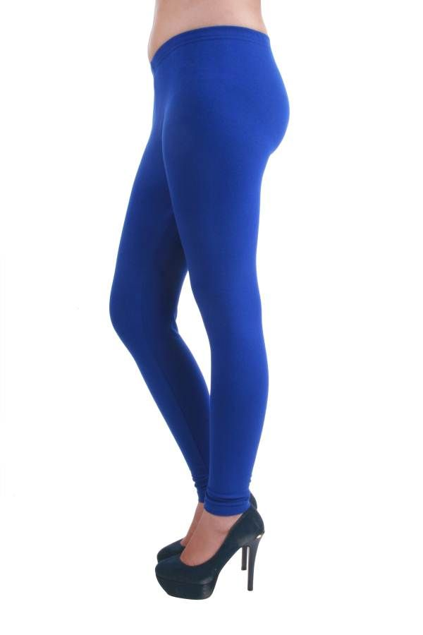 Buy Hypernation Blue Color Skinny Fit Leggings For Women Online ...