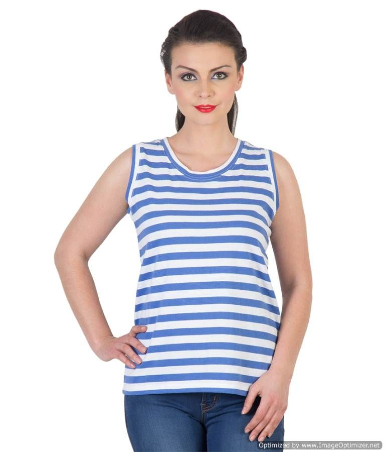 Buy Hypernation Blue And White Color Stripped Sleeveless T-shirts For Women online