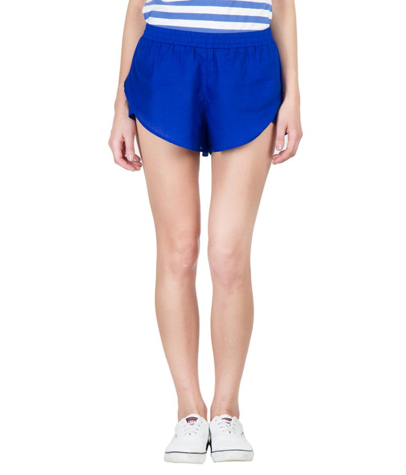 Buy Hypernation Blue Color Rayon Hotpants For Women online