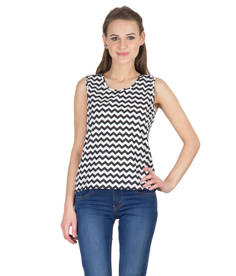 Buy Hypernation Black Zig Zag Print Round Neck Sleeveless Cotton Top For Women online