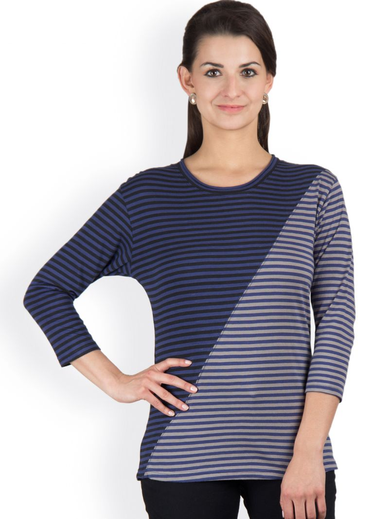 Buy Hypernation Navy Blue And Grey Color Stripped T-shirts For Women online