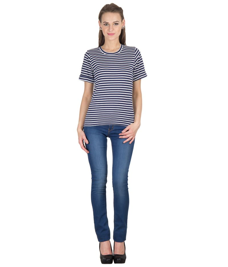 Buy Hypernation Navy Blue And White Stripe Round Neck Cotton T-shirt For Woman online