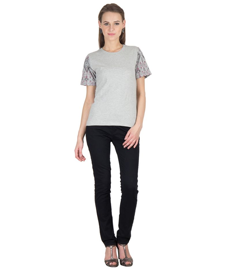 Buy Hypernation Grey Color Round Neck With Printed Sleeves Cotton T-shirt online
