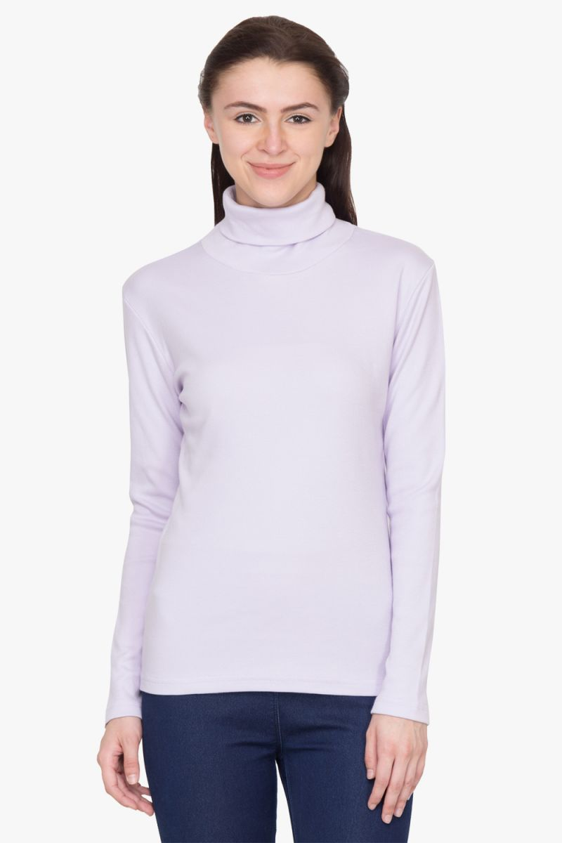 Buy Hypernation Lilac Turtle Neck Cotton T-shirt online