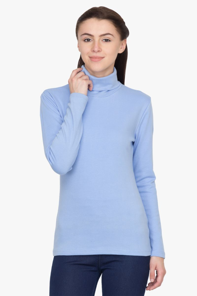Buy Hypernation Blue Turtle Neck Cotton T-shirt online