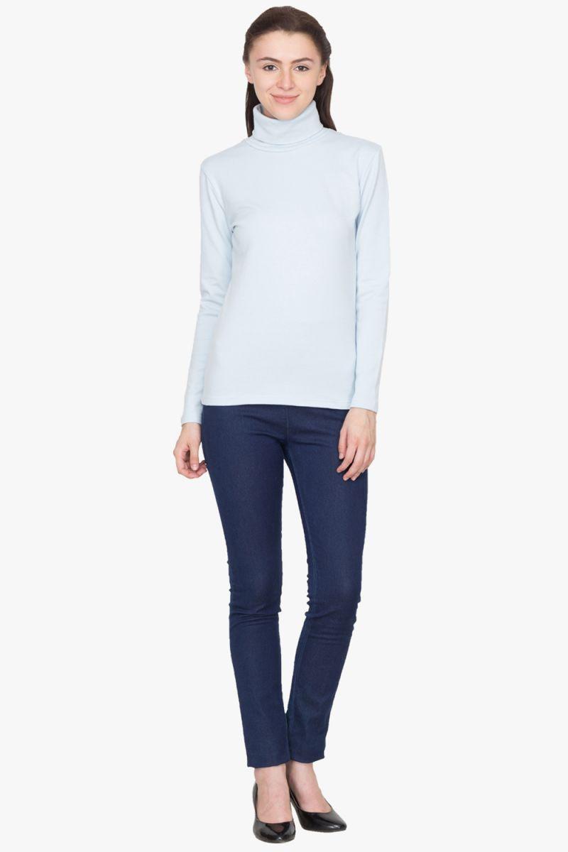 Buy Hypernation Light Blue Turtle Neck Cotton T-shirt online