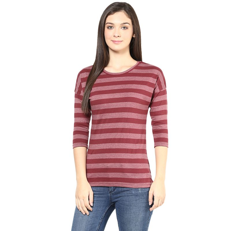 Buy Hypernation Maroon Stripe Round Neck Cotton T-shirt online