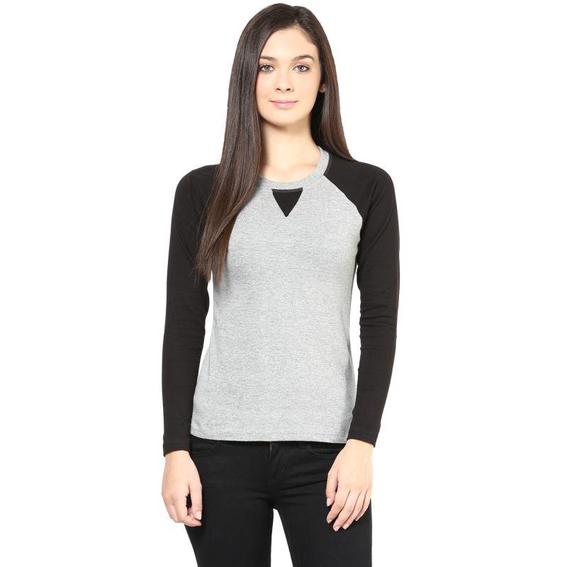 Buy Hypernation Black And Light Grey Round Neck Cotton T-shirt online