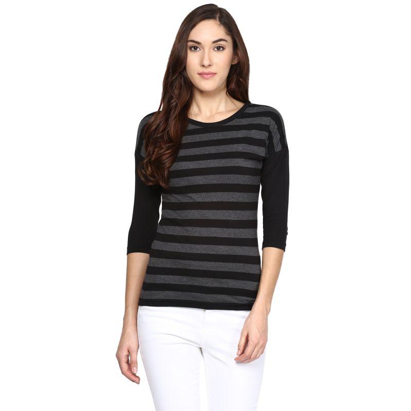 Buy Hypernation Striped Women Round Neck T-shirt_hypw0614 online
