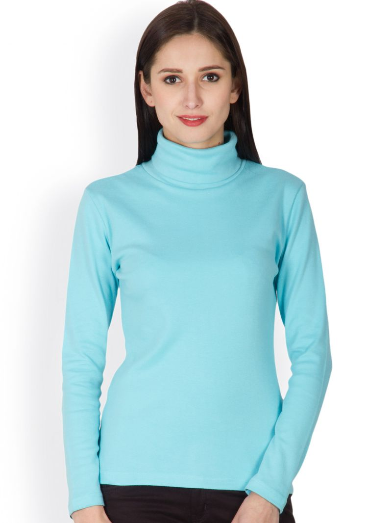 Buy Hypernation Aqua Color High Neck T-shirt For Women Made In Cotton online
