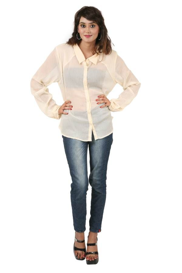 Buy Hypernation Off-white Color Full Sleeves Casual Shirts For Women online