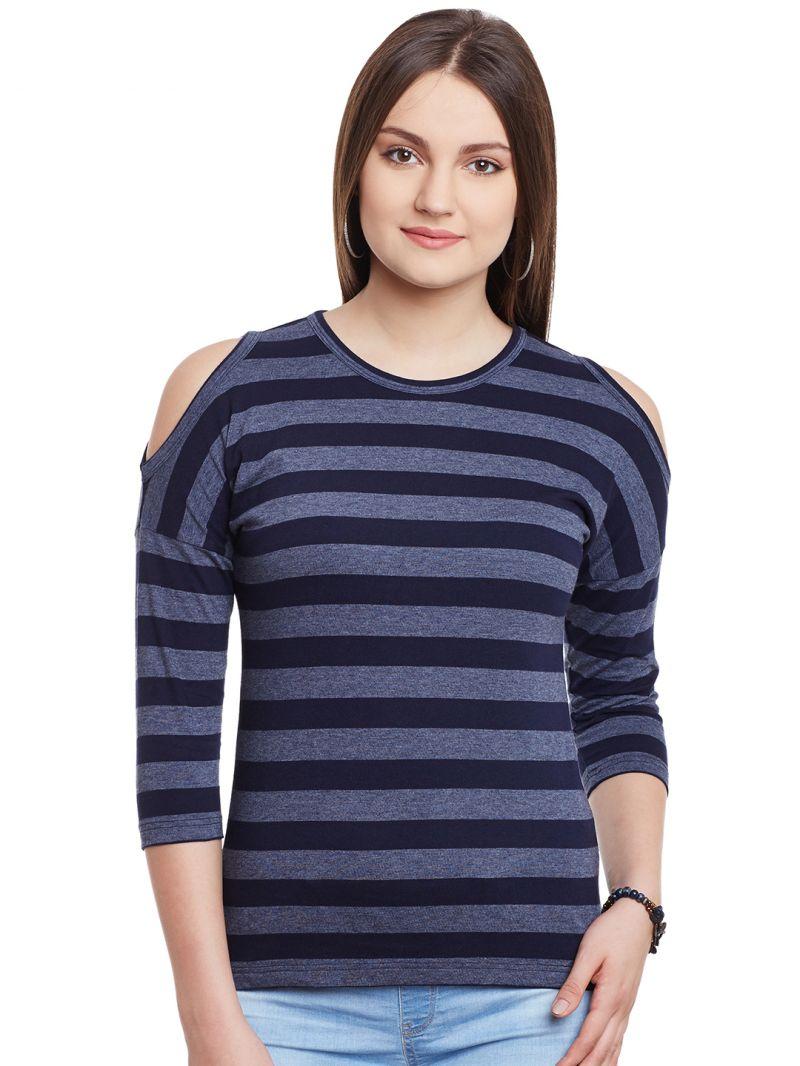 Buy Hypernation Blue Gray Stripe Cold Shoulder Round Neck Cotton Top Hypw0981 online