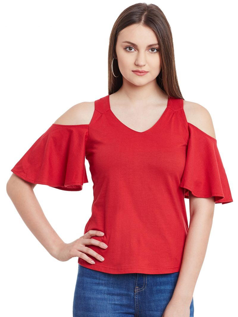 Buy Hypernation Red Cold Shoulder Cotton Top online