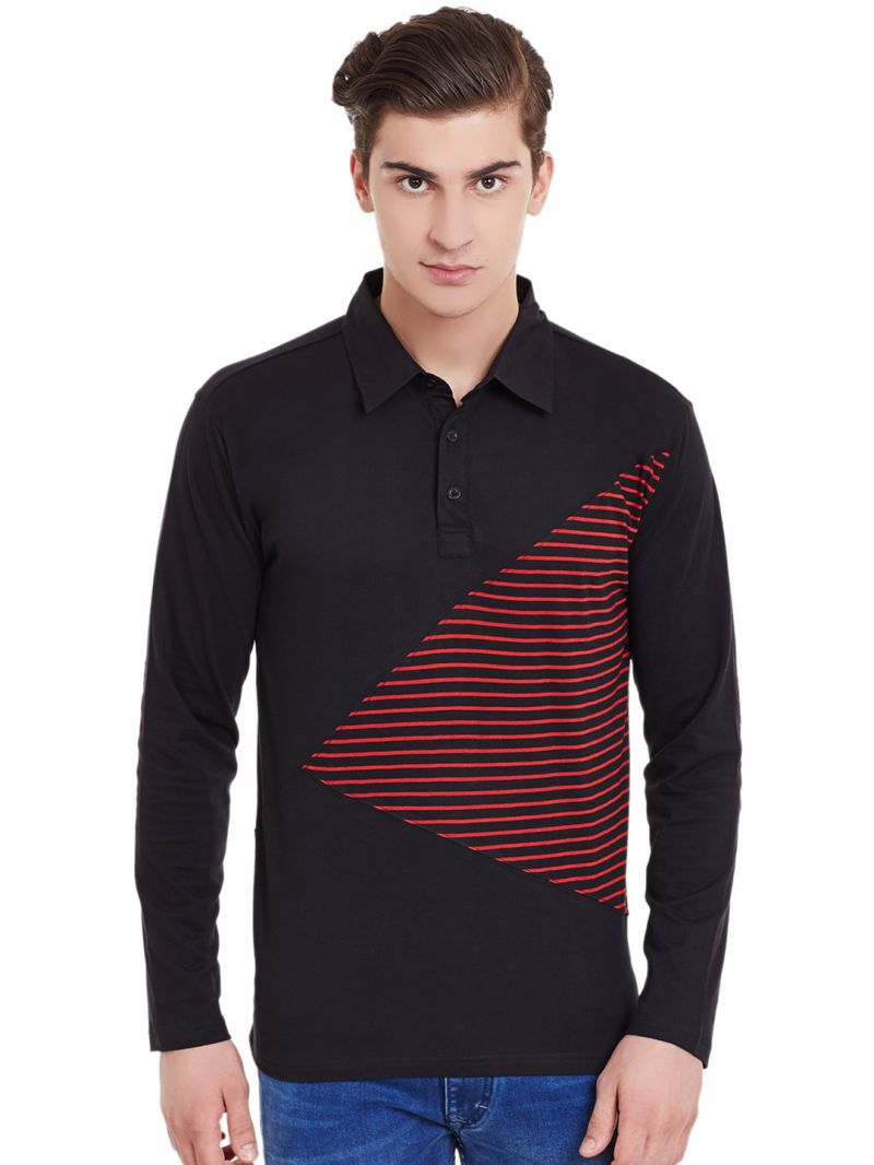 Black t shirt full sleeve with collar - Buy Hypernation Black Full Sleeves Polo T Shirt With Red Stripe Online