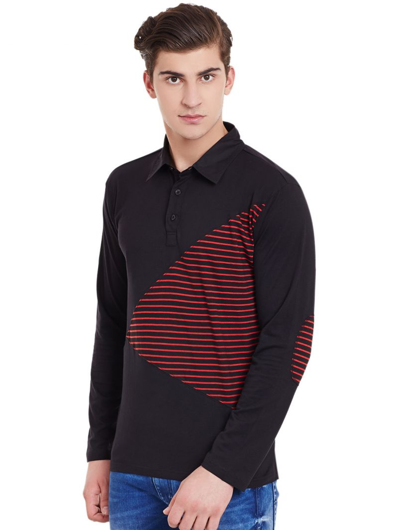c55a79a1711 Buy Hypernation Black Full Sleeves Polo T-shirt With Red Stripe ...