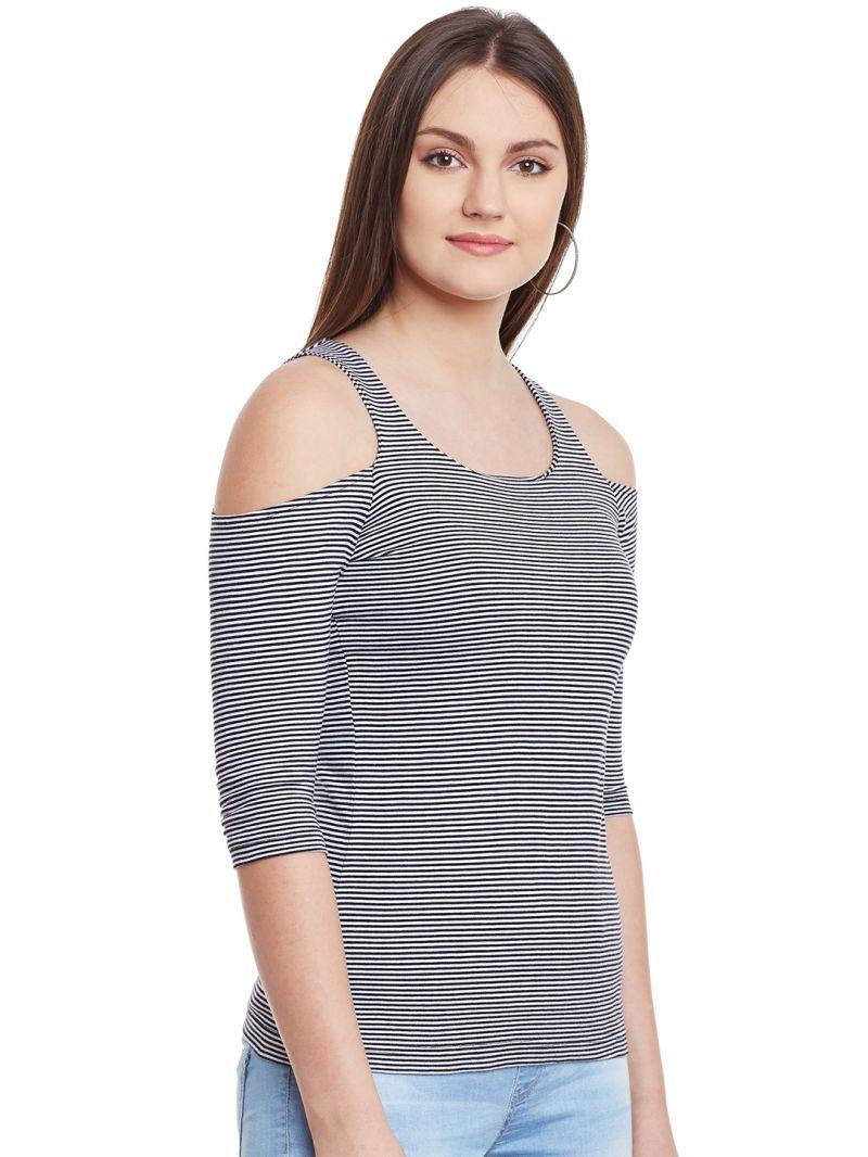 5ece83a435adf Hypernation Black White Stripe Cold Shoulder U-Neck Cotton Top. 29% OFF