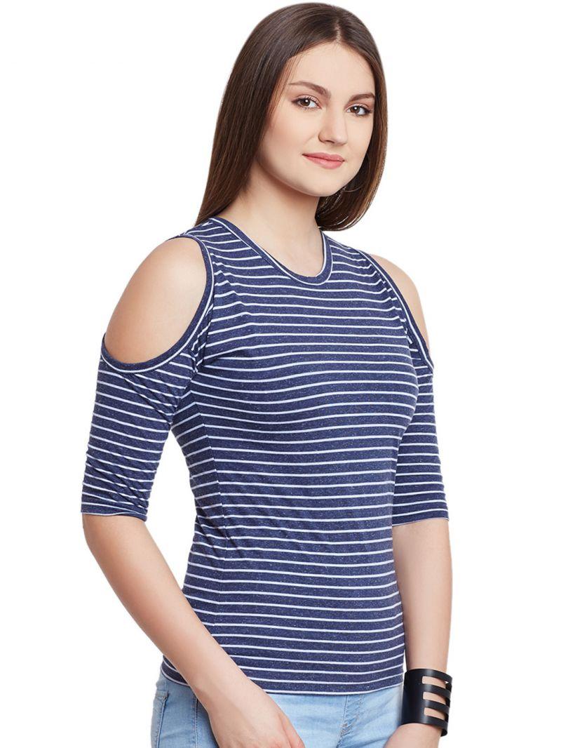 f5bf2ae018a441 Hypernation Blue White Stripe Cold Shoulder Round Neck Cotton Top. 29% OFF
