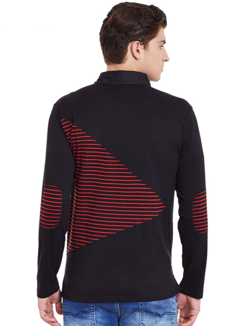 Black t shirt full sleeve with collar - Hypernation Black Full Sleeves Polo T Shirt With Red Stripe Close