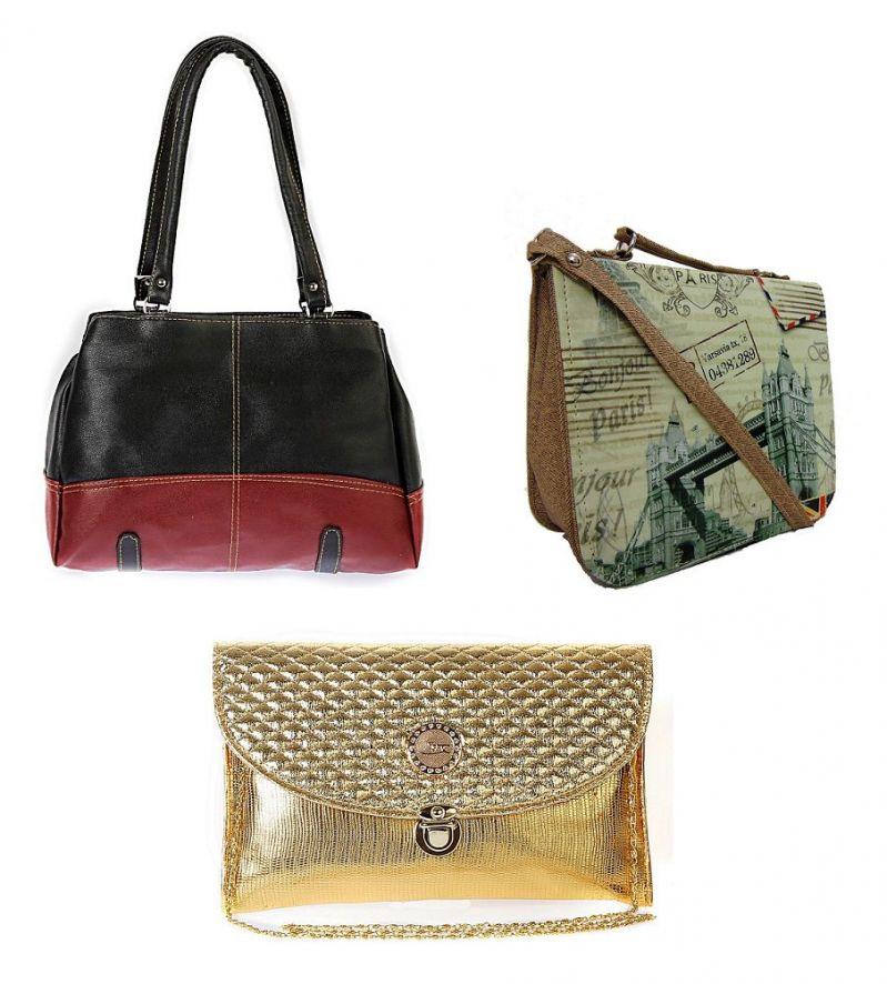 Buy Estoss Set Of 3 Handbag Combo - 1 Black Formal Handbag, 1 Beige Print Sling Bag & 1 Golden Clutch Purse Sling Bag- Hcmb1034 online