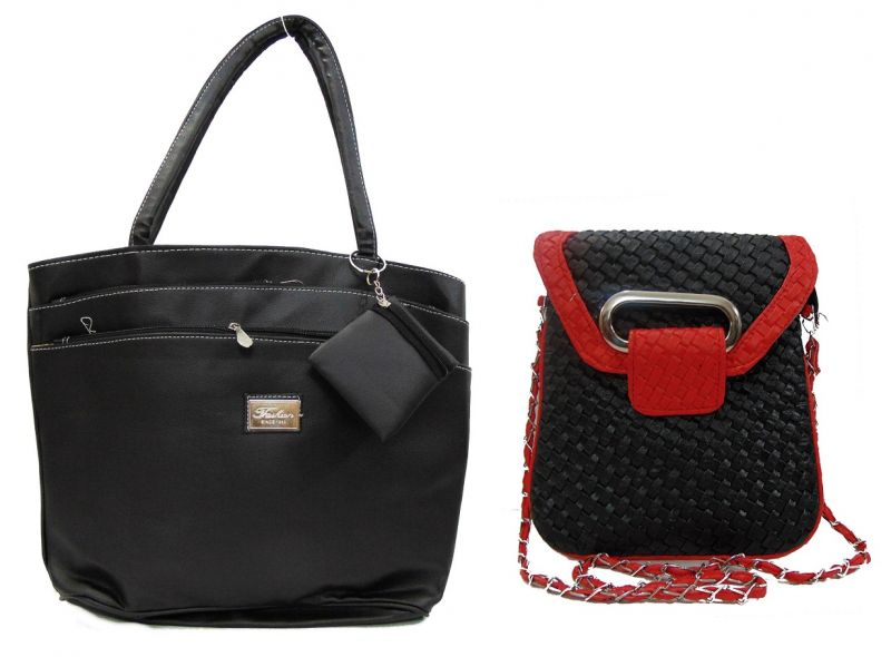 Buy Estoss Buy 1 Get 1 - Black Handbag & Black Metal Chain Sling Bag online