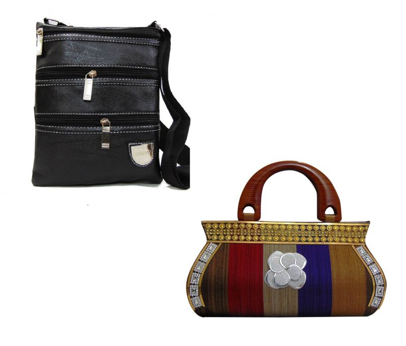 Buy Estoss Buy 1 Get 1 - Black Multi-pocket Sling And Multicolor Clutch Combo Of 3 online