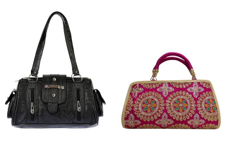 Buy Estoss Black Handbag And Pink Clutch Combo Of 2 online
