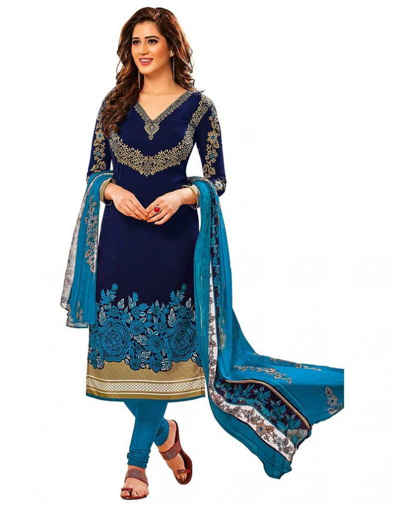 Buy Jevi Prints Blue Unstitched Synthetic Crepe Printed Salwar Suit With Dupatta online