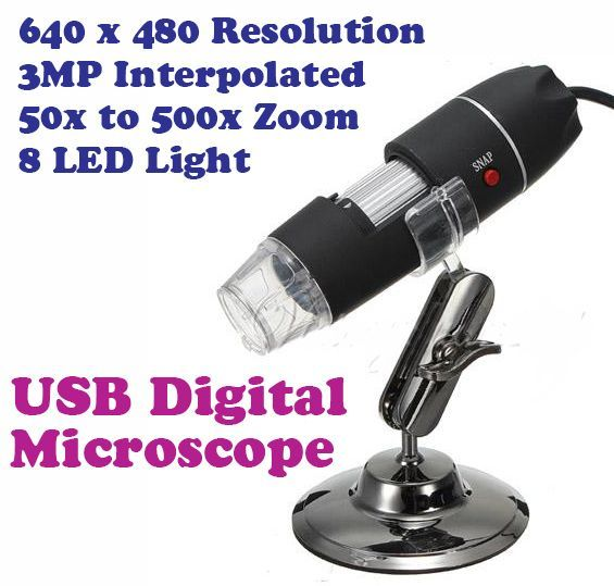 Buy Gadget Hero's USB 500x Magnification Digital Microscope 8 LED 3MP Interpole online