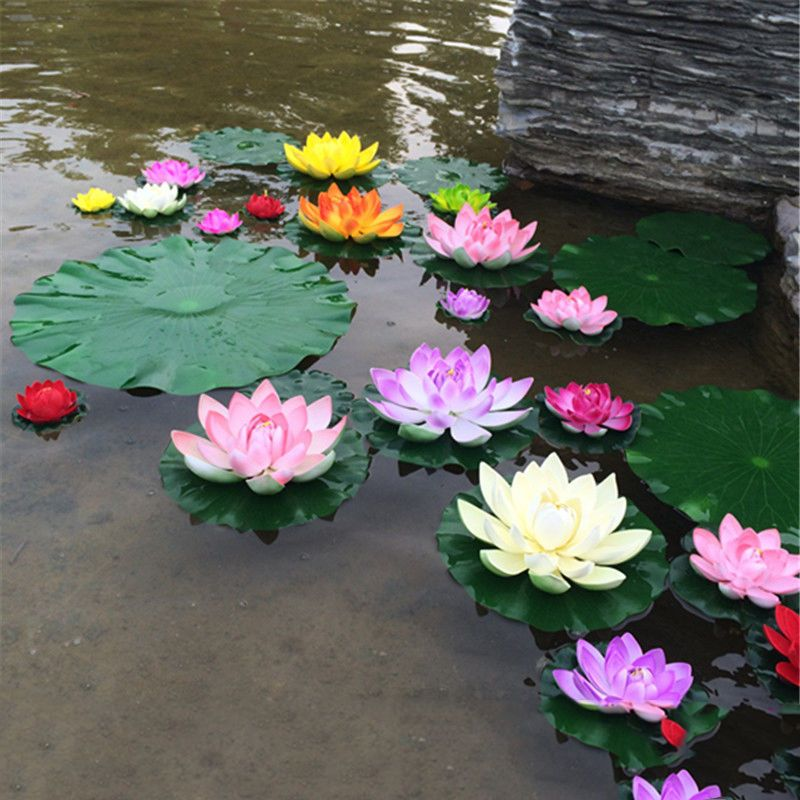 Buy real touch artificial lotus flower foam lotus flowers water lily 17 mightylinksfo