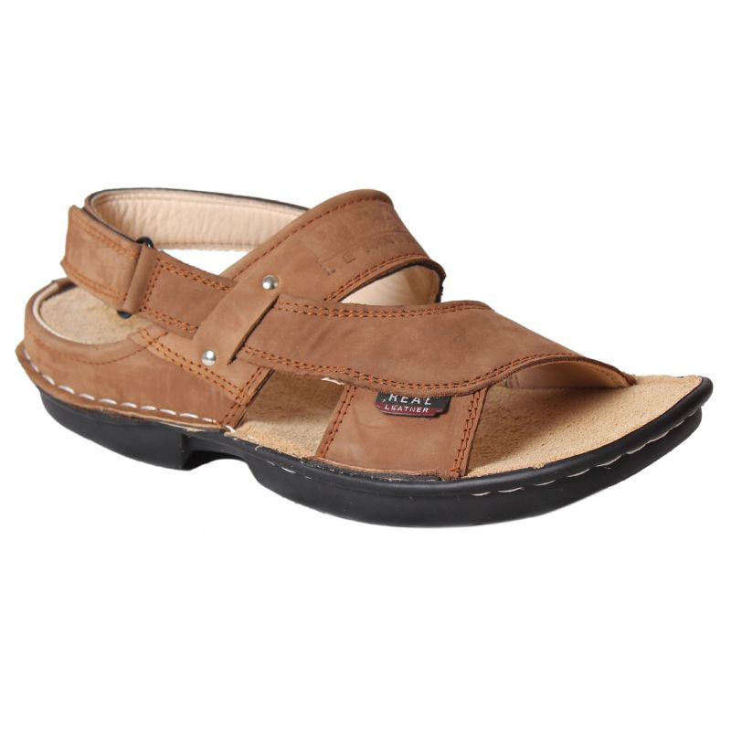Buy Leather Soft Genuine Leather Tan Casual Sandals - (code -ls-555-tan) online