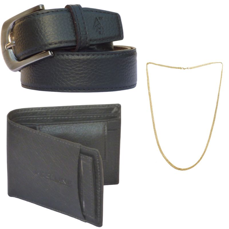 Buy Sondagar Arts Latest Leather Belt Wallet Chain Combo Offers For Men online