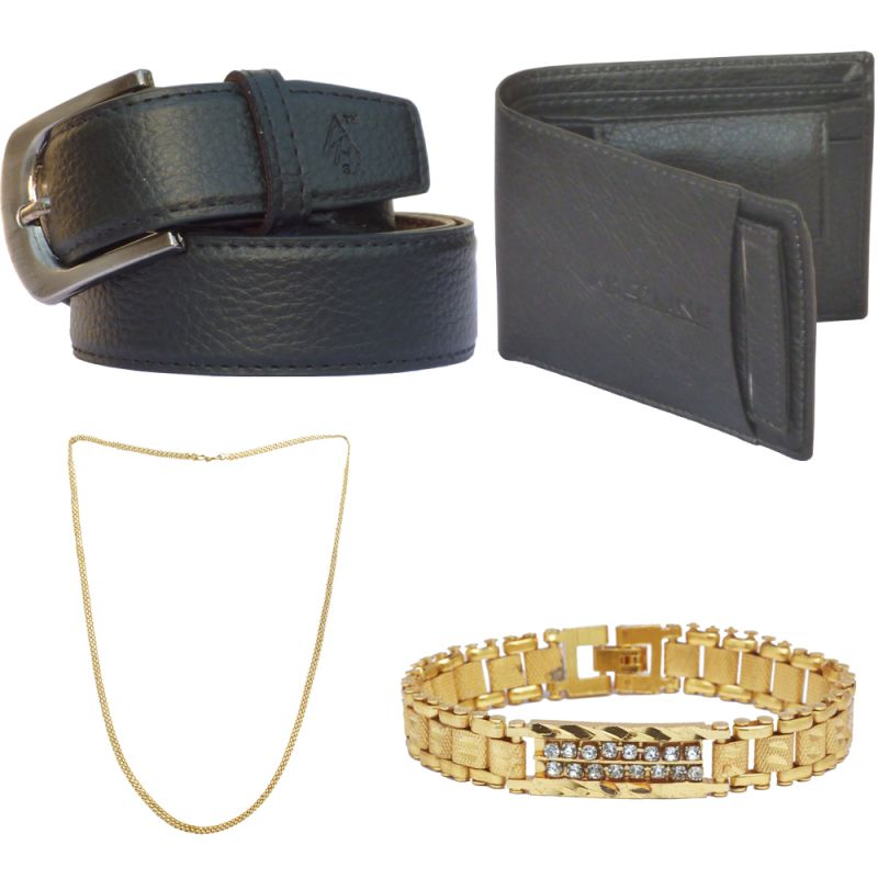 Buy Sondagar Arts Latest Leather Belt Wallet Bracelet Chain Combo Offers For Men online