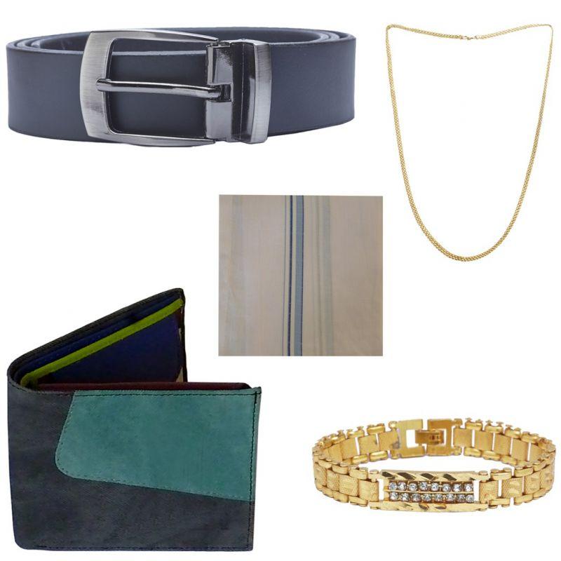 Buy Sondagar Arts Latest Belt Wallet Bracelet Chain Handkerchief Combo Offers For Men online