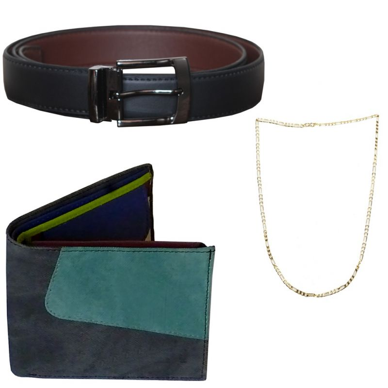 Buy Sondagar Arts Formal Black Belt Wallet Chain Combo Offers For Men online