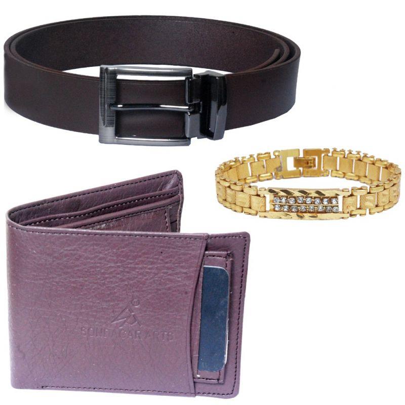 Buy Sondagar Arts Latest Belt Wallet Bracelet Combo Offers For Men online