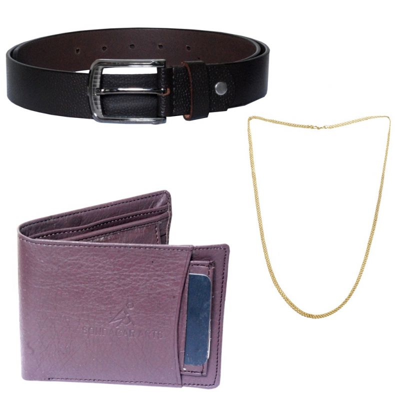 Buy Sondagar Arts Latest Belt Wallet Chain Combo Offers For Men online