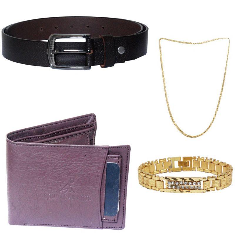 Buy Sondagar Arts Latest Belt Wallet Bracelet Chain Combo Offers For Men online