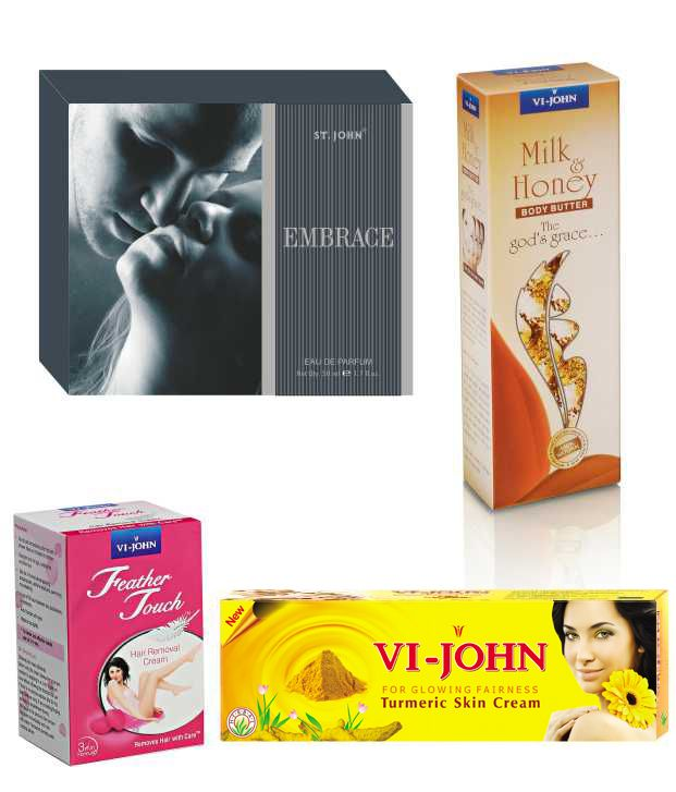 Buy St.Johnvijohn Women Care Kit (Hair Remover Rose & Turmeric Cream Fairness Cream & Body Butter & Perfume Embrace) online