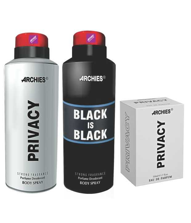 Buy Archies Deo Black Is Bkack & Privacy + Perfume Privacy-(code-vj619) online