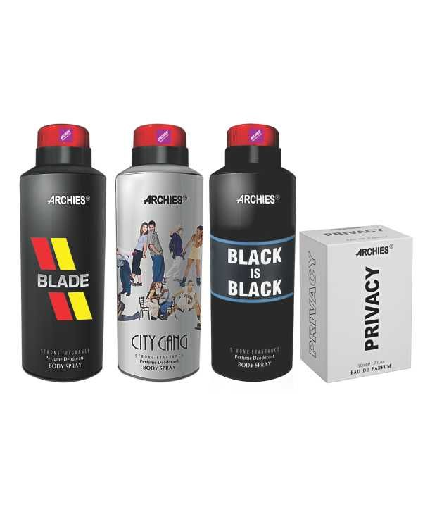 Buy Archies Deo City Gang & Blade & Black Is Bkack + Perfume Privacy-(code-vj652) online